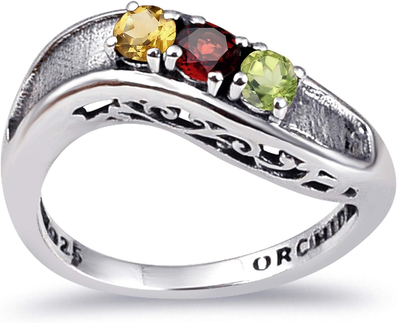 在庫あり Orchid Jewelry Sterling 超歓迎された Silver 3-Stone For Women Multiple Ring
