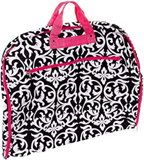World Traveler 40 Inch Hanging Garment Bag, Pink Trim Damask, One Size