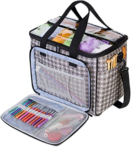 Teamoy Knitting Bag, Yarn Tote Organizer with Inner Divider (Sewn to Bottom) for Crochet Hooks, Knitting Needles(Up t...