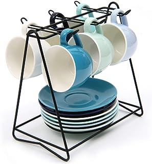 SHACOS Lot de 6 Tasse a Cafe Expresso en Ceramique Bleu avec Soucoupes 100ml Tasse à café pour Fête, Mariage, Anniversaire