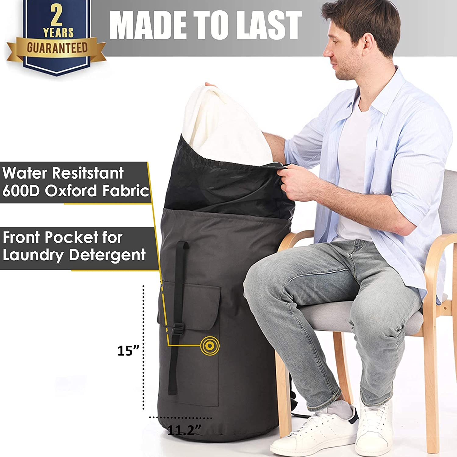 Laundry Extra large laundry backpack, charcoal grey bag with straps