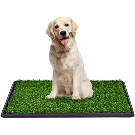 Giantex 30x20inch Dog Puppy Pet Potty Pad with Artificial Grass, Home Bathroom Dogs Training Toilet Pad, Grass Surface Portable Dog Mat Turf Patch Bathroom Indoor Outdoor