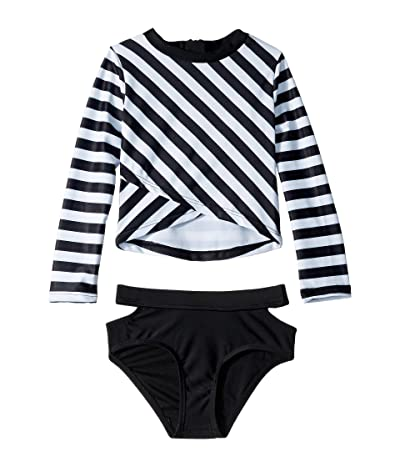Appaman Kids Oceana Long Sleeve Rashguard Set (Toddler/Little Kids/Big Kids) (Black/White) Girl