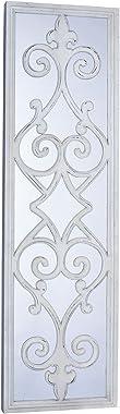 Household Essentials Grande Enmarcado Voluta Decorativa Espejo de Pared, Blanco