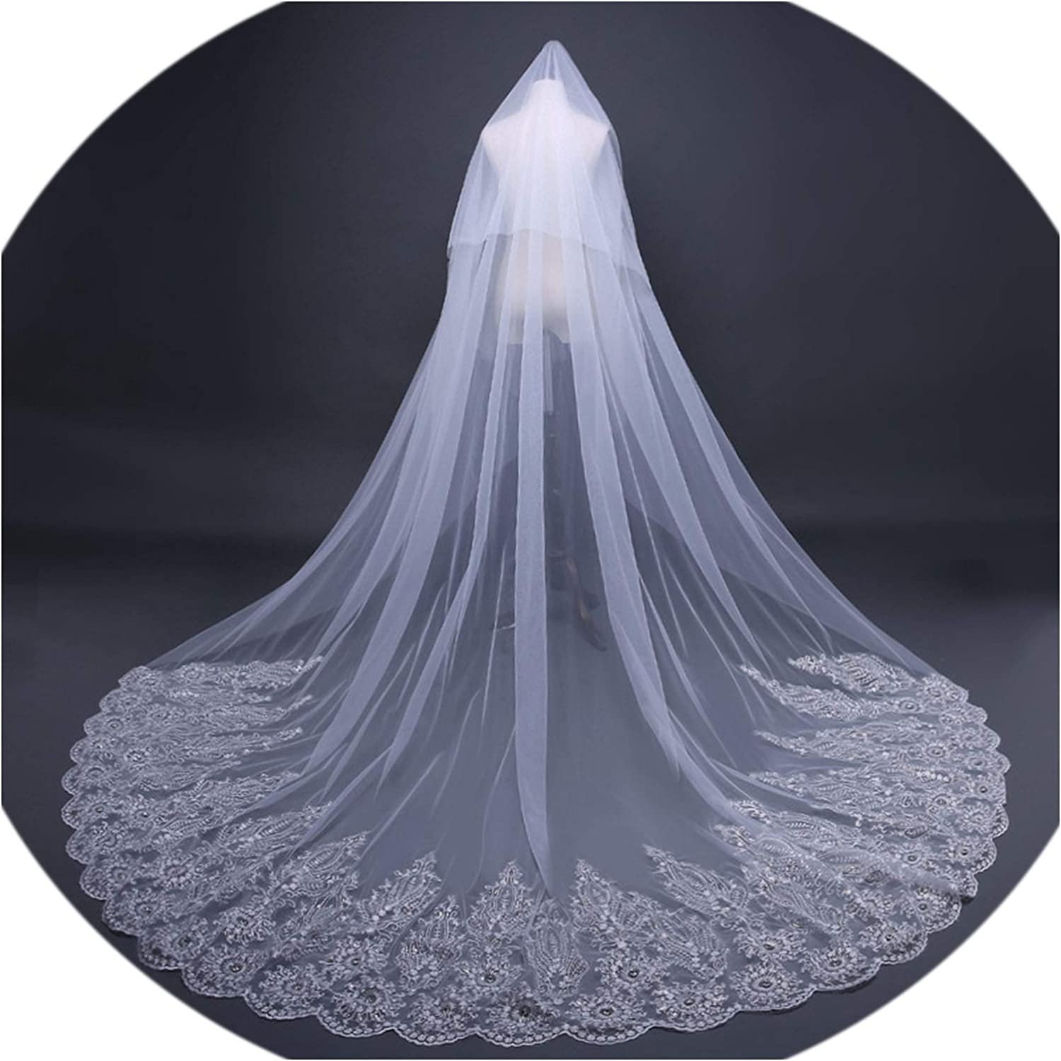 3M Long Wedding Veil with Comb Two Layers Beaded Lace Appliques Edge Soft Tulle Wedding Accessories,Ivory,300cm