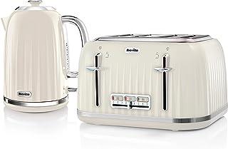 Impressions waterkoker & broodrooster set met 4 plakjes broodrooster & elektrische waterkoker, crème