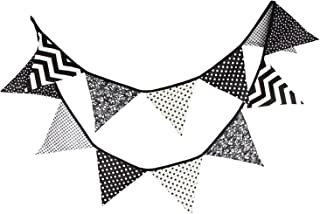 10.5 Feet Double Sided Black and White Cotton Fabric Triangle Pennant Flag Bunting Banner 12 Flags For Nursery Kids Room Teens Bedroom Teepee Baby Shower Birthday Halloween Party Decor, Pack of 1