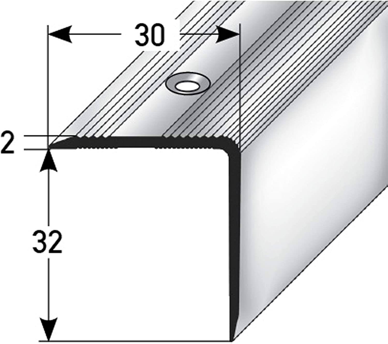 F/ácil instalaci/ón Perfil de pelda/ño perfil de pelda/ño de aluminio 170cm 32x30mm bronce claro acerto 51138 Perfil angular de aluminio Antideslizante Robusto