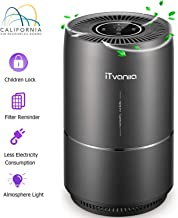 iTvanila Air Purifier, Air Purifier for Home Pet Hair, Smokers, True HEPA Active Carbon Filter, Quiet in Bedroom,Filtration System Cleaner Eliminators, Removes Smoke Odor Dust, Warm Night Light