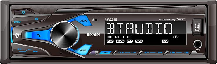 JENSEN MPR319 Single DIN Car Stereo Receiver with 7 Character LCD Built-in Bluetooth/MP3/USB