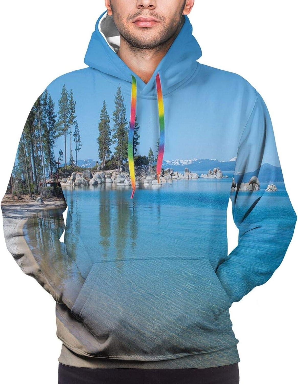 Men's Hoodies Sweatshirts,Clear Water in Shore of Lake Tahoe Idyllic Calming Scene