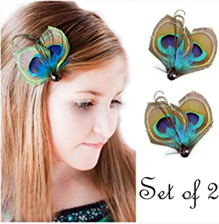 Set of 2 Butterfly Peacock Feather Hair Clip, Feather Hair Pins, Wedding Feather Fascinator, Bridesmaid Gift Peacock Accessory