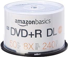 AmazonBasics - Paquete de discos DVD+R DL 8x de 8,5GB, 50 unidades