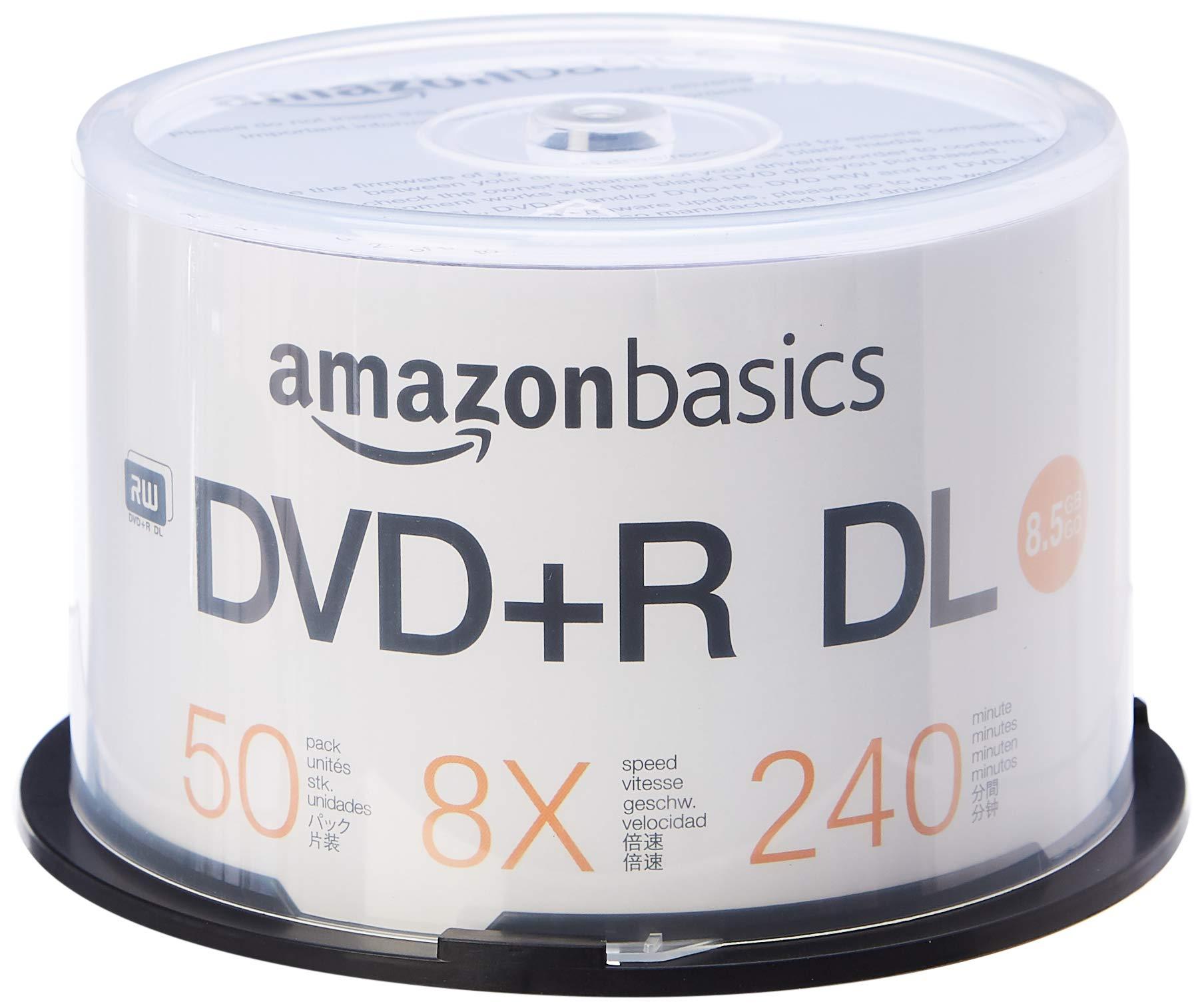 AmazonBasics - Paquete de discos DVD+R DL 8x de 8,5 GB, 50 unidades: Amazon.es: Electrónica