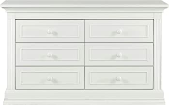 "Montana Collection Natural Hardwood 6 Drawer Dresser | Lasting Quality & Design | Kiln-dried & Hand-Crafted Construction | 56"" x 18.5"" x 34"", Glazed White"