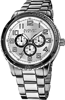 August Steiner Men's Silver Alloy Band Watch - AS8060SL, Mixed, Analog, Quartz