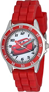 Cars Kids' Analog Watch with Silver-Tone Casing, Red...