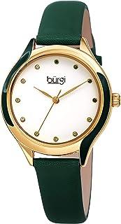 Swarovski Crystal Lined Women's Watch - with Genuine Leather Skinny Strap, Enamel Swirl Bezel 12 Matching Swarovski Markers - BUR248