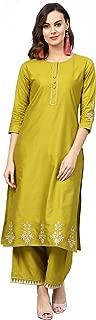 Indo Era Women'S Chanderi Straight Kurta Set (Green)