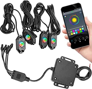 RGB LED Rock Light Kits, Swatow Industries Neon LED Light Waterproof Bluetooth Lights for Car Jeep Truck Off Road ATV UTV Motorcycle Boat