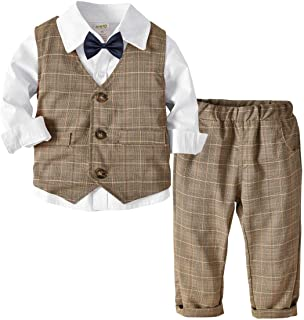 Happy Cherry Baby Jungen Taufanzug Hochzeitanzug Bekleidungset Festliche Gentleman Baumwolle Jumpsuit Langarm Hemd Fliege Weste Hose