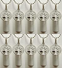 Pasco Specialty Products Beautiful Set of TEN - Brushed Silver TREE OF LIFE CREMATION URN Necklaces with SCATTERING TUBE - Includes Velvet Pouches, Ball-Chains, Fill Kit
