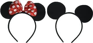MEKBOK Mickey Minnie Mouse Ears Headbands (Set of 2), Black