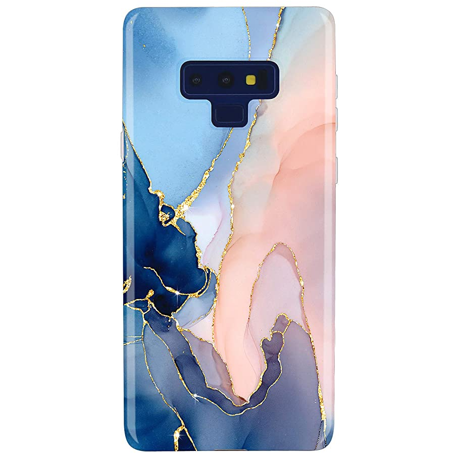 JAHOLAN Galaxy Note 9 Case Gold Glitter Sparkle Purple Marble Design Slim Flexible Bumper Glossy TPU Soft Rubber Silicone Cover Phone Case for Samsung Galaxy Note 9