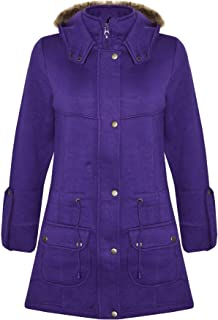 Kids Girls Coat Purple Fleece Parka Jacket Long Faux Fur Hooded Winter Coat 5-13