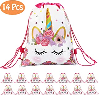CXWILL Unicorn Party Favors Bags 14 Pcs Drawstring Gifts Bags for Kids Party Decoration