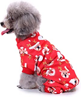 RYPET Christmas Dog Clothes - Small Dog Christmas Pajamas Reindeer Pattern Dog Outfit for Pet Christmas Carnival Night