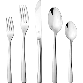 DANIALLI 20 Piece Silverware Set For 4, 18 10 Stainless Steel Silverware Set, Modern Sleek Flatware Set, Include Knife/Fork/Spoon & Long Teaspoon/Salad Fork Mirror-Polished Dishwasher Safe Cutlery