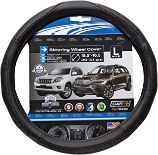 Easy Installation - Universal Fit BDK W899LK Leather Car Steering Wheel Cover Large Size 15.5 to 16.5 Inch Black
