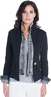 Via Strozzi Women's Black Inset Denim Jacket – Classic Italian Knit Blazer with Faux Double Layer Inset Denim Jean Panel