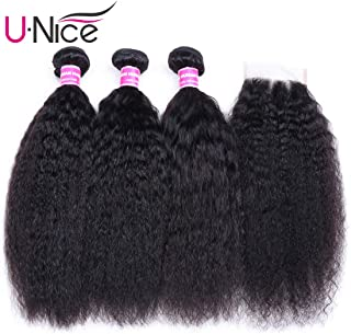UNice Hair 8A Italian Yaki Kinky Straight Human Hair 3 Bundles with 4x4 Lace Closure Free Part, 100% Virgin Human Hair Weave Extensions Natural Color (12 14 16+10 Closure)
