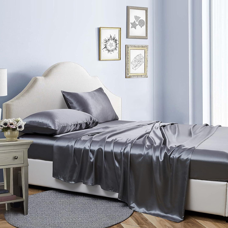 New arrival Bonlino Satin Sheets Set Dark Grey Piece Size Max 65% OFF 4 Bed Queen