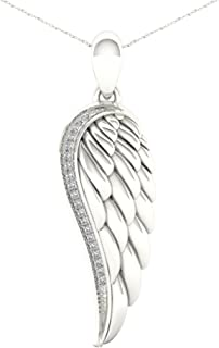De Couer S925 Sterling Silver 1/20ct TDW Diamond Angel Wing Necklace (I-J, I2)