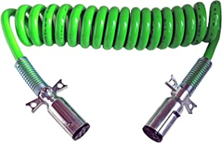 7-WAY TRUCK AND TRAILER ELECTRICAL COILED CABLE ABS DUTY GREEN, 15' LENGTH; 2 X 12