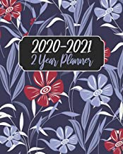 2020-2021 2 Year Planner: Purple Floral Cover, 24 Months Planner Calendar January 2020 to December 2021 Track And To Do List Schedule Agenda Organizer With Holidays and inspirational Quotes