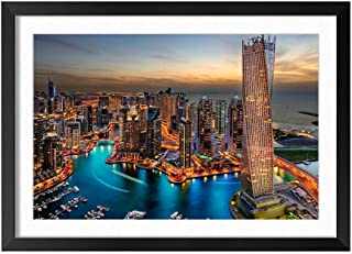 Dubai City Night View Lights Skyscrapers - Natural Scenery Art Print Home Decor Wooden Frame Poster(Black Frame 12x16inch)