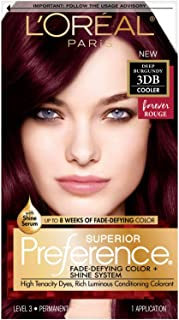 L'OrÃal Paris Superior Preference Fade-Defying + Shine Permanent Hair Color, 3DB Deep Burgundy, Pack of 1, Hair Dye