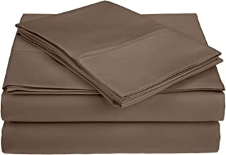 450 Thread Count 100% Premium Combed Cotton, Deep Pocket, Single Ply, 4-Piece Queen Bed Sheet Set, Solid, Taupe