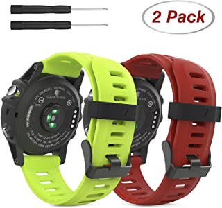 MoKo Pulsera para Fenix 3/Fenix 3 HR/Fenix 5X/5X Plus, Fenix 6X/6X Pro, [2-Pzs] Correa Pulsera de Silicona Respirable y Reemplazable, Banda de Reloj Deportivo - Rojo Oscuro & Verde