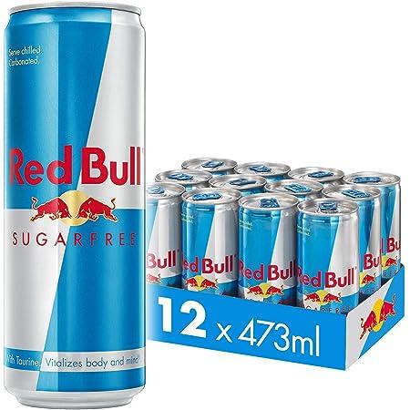 Red Bull Energy Drink Sugar Free 12 Pack of 473 ml, Sugarfree