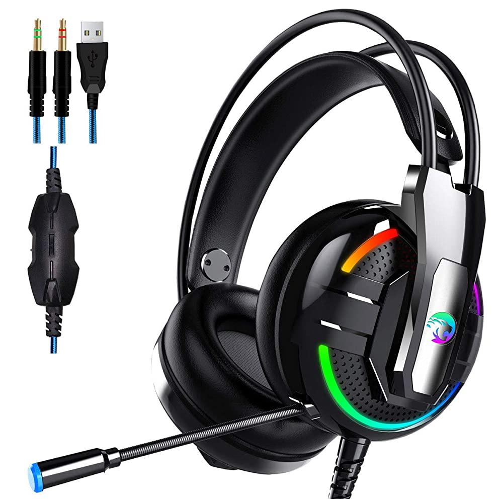 Dollcora Head-Mounted Wired Headphones Lighting Gaming Headsets for Gaming Audio and Video Headphones (Black)