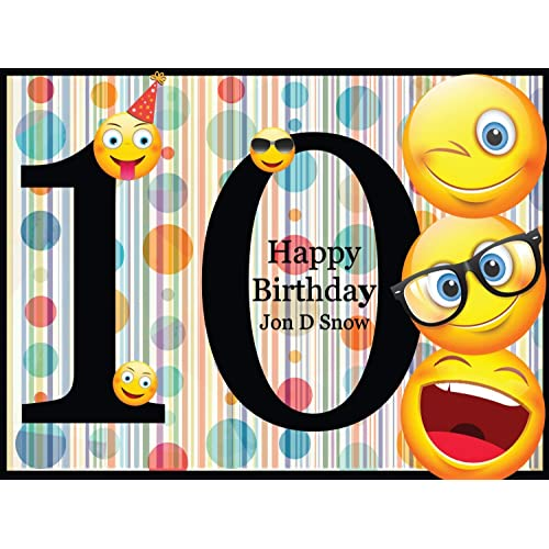 Emoji Party Supplies Happy Birthday Banner 10th Personalized Poster