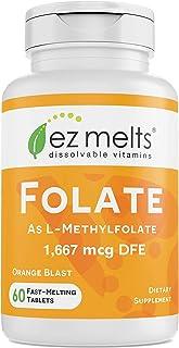 EZ Melts Folate as L-5-Methylfolate, 1,667 mcg DFE, Sublingual Vitamins, Vegan, Zero Sugar, Natural Orange ...