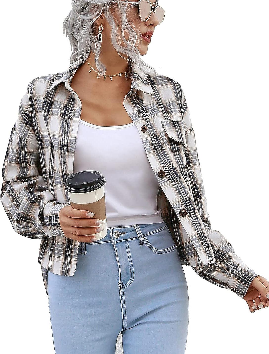 Xishiloft Womens Casual Plaid Shirt Button Down Tops Irregular Hem Blouse Shirts