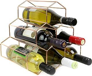 Maison & White Estante del vino de oro rosa | Estantería de vino independiente de 6 botellas | Diseño moderno del hexágono | Mueble estantería de vino