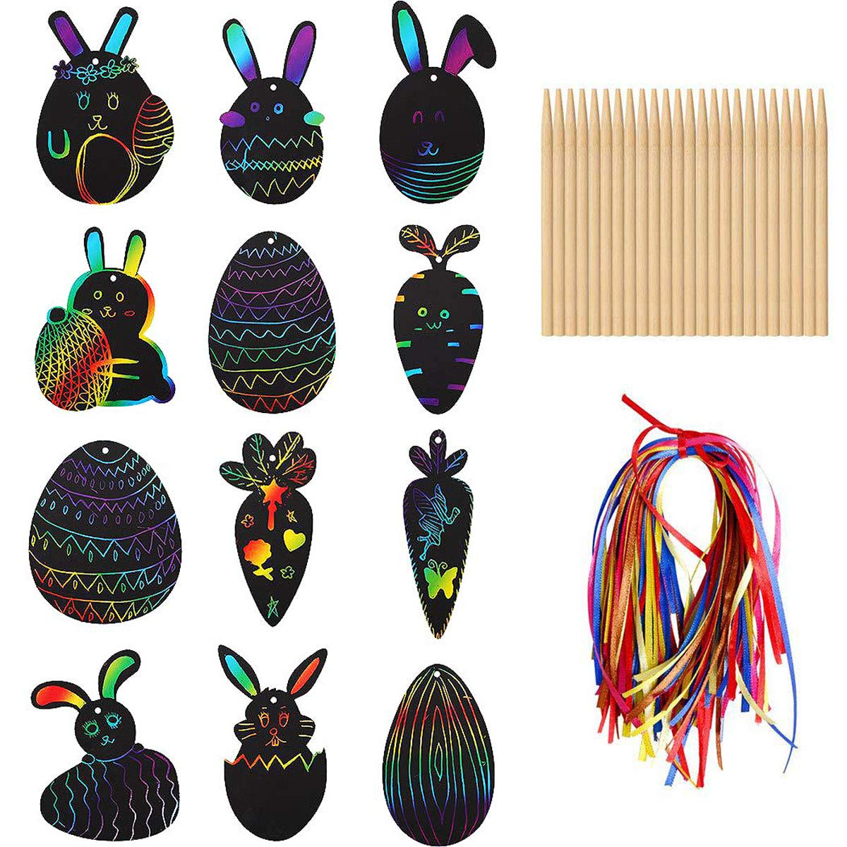 Easter Scratch Crafts Art Kit Magic Colorful Rainbow Scratch Paper Card Easter Egg Bunny Chick Shape with Ribbons Wooden Scratch Tools and Envelopes for Easter Party Egg Hunt Game Classroom Decoration
